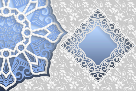 Template of wedding greetings or invitations. 3D mandala, square frame with lace edges, surface with a relief pattern. Floral background on the bottom. Place for the inscription in the frame.