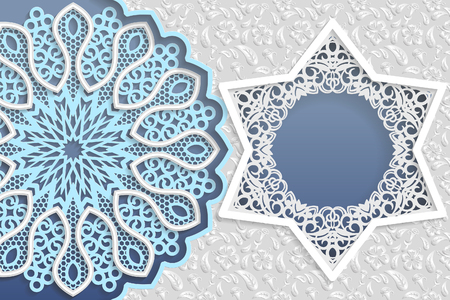 Template of wedding greetings or invitations. 3D mandala, star shaped frame with lace edges. Floral background on a surface. Place for the inscription in the frame.