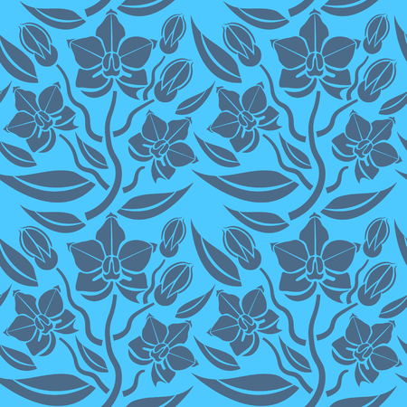 Seamless blue floral pattern, vector. Endless texture can be used for wallpaper, pattern fills, web page background, surface textures, and fabrics. Çizim