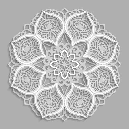 Lace 3D mandala,  round symmetrical openwork pattern,  decorative  snowflake, arabic ornament, decorative design element,  vector