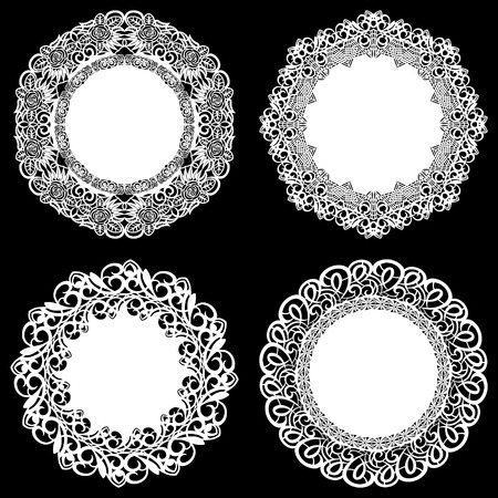Set of design elements, lace round paper doily, doily to decorate the cake, template for cutting, snowflake, greeting element, metal plate cut by laser, vector illustrations.
