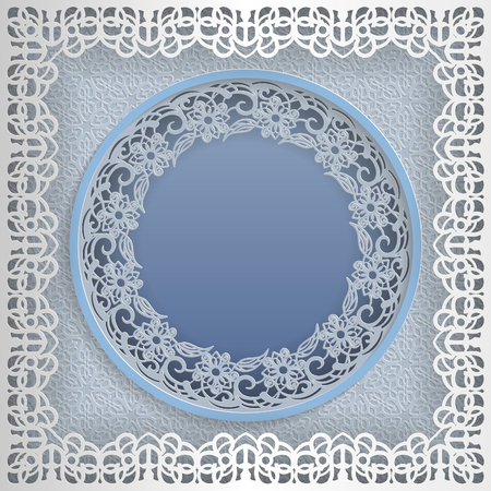 Round white frame in an square frame with lace edges and a abstract background inside. Template for wedding and other congratulations. In the middle there is space for text, pictures, photos. Vector. 일러스트