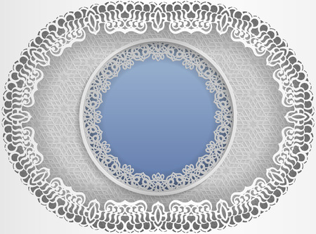 Round white frame in an oval shape with lace edges and a floral design. Vectores