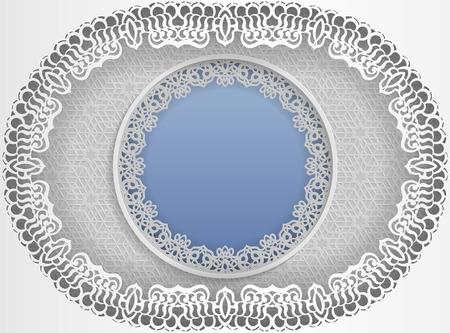 Rond wit frame in een ovale vorm met kanten randen en een bloemmotief.