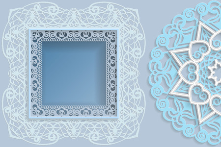 Template for design, square frame with lace edges and 3D mandala on the side. Template for wedding and other congratulations. There is a place in the frame for text, pictures, photos. Ilustração
