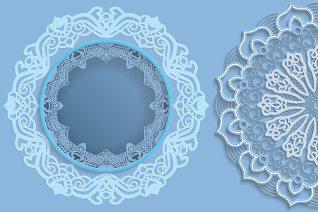 Template for design -  round frame with lace edges and  3D mandala on the side. Template for wedding and other congratulations. There is a place in the frame for text, pictures, photos. Vector.
