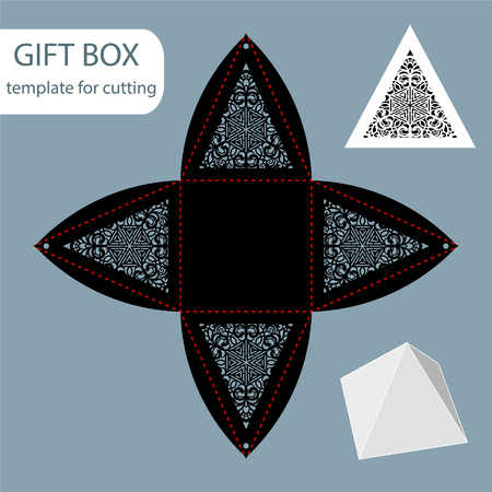 Paper pyramid gift box with lace pattern and square bottom, cut out template illustration.