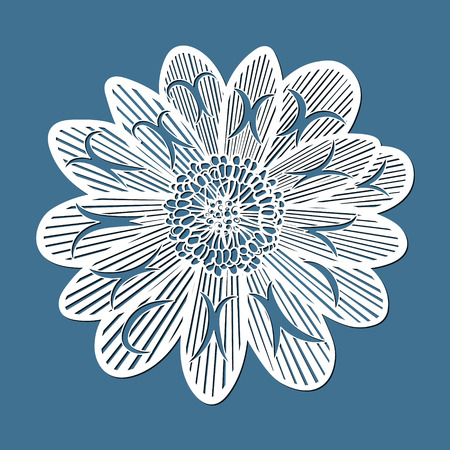 flower adonis, laser cut flower, template for cutting, card design element,  gift on Valentine's Day, love letter,  paper greeting card,  vector illustration Illustration