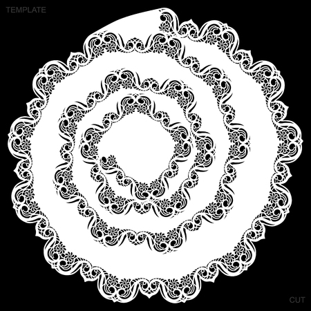Lace round paper doily, drawing spiral, greeting element, laser cut  template, doily to decorate the cake,  vector illustrations.