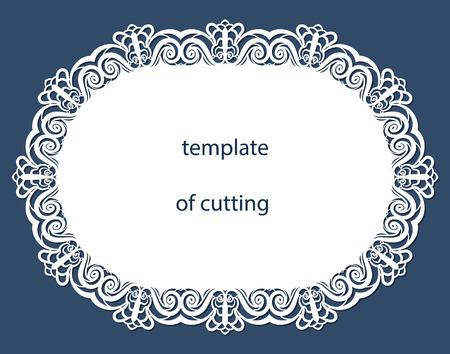 Carte de voeux de forme ovale avec une bordure décorative sur le bord, napperon de papier sous le gâteau, modèle de découpe, faire-part de mariage, plaque décorative découpée au laser, illustrations vectorielles.