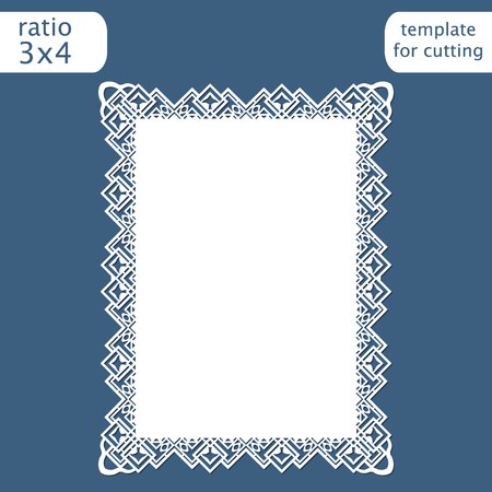 Laser cut wedding invitation card template with openwork border.  Cut out the paper card with lace pattern.  Greeting card template for cutting plotter. Vector. Ilustrace