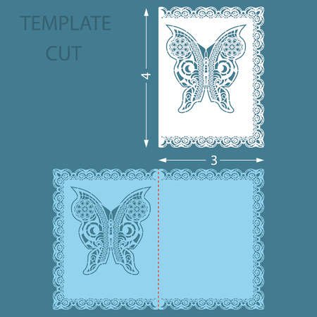 Template greeting congratulatory card with a decorative border on the edge. Wedding invitation laser cut. Card with a carved butterfly pattern. Vector.