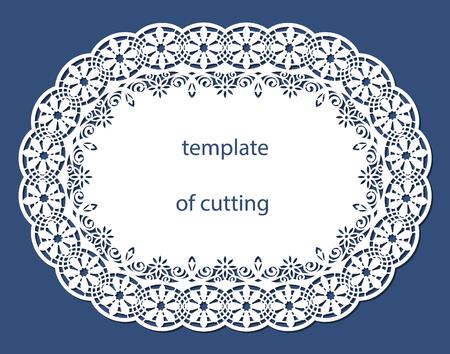 Carte de voeux de forme ovale avec une bordure décorative sur le bord, napperon de papier sous le gâteau, modèle de découpe, faire-part de mariage, plaque décorative découpée au laser, illustrations vectorielles. Vecteurs