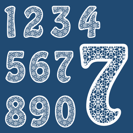 Templates for cutting out letters. Full set of numbers. May be used for laser cutting. Fancy lace numbers.