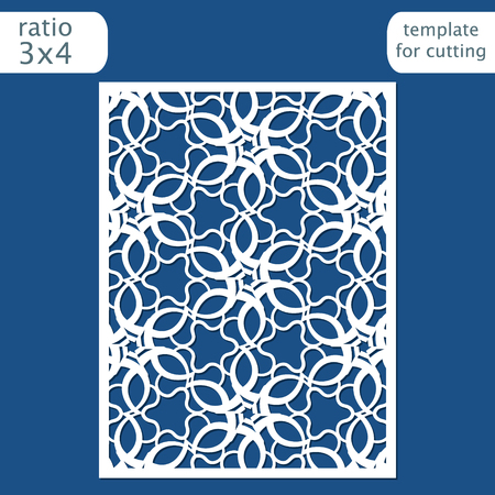 Laser cut wedding invitation card template. Cut out the paper card with lace pattern. Greeting card template for cutting plotter. Vector.
