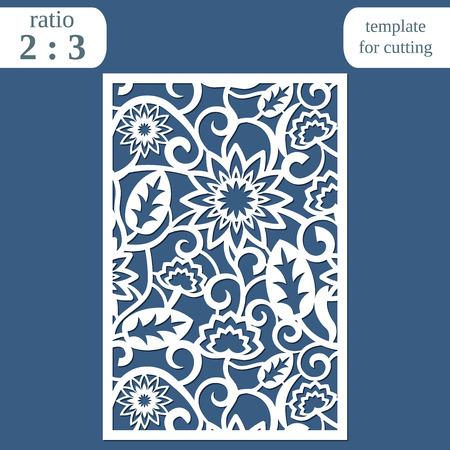 Laser cut wedding card template, paper openwork greeting card, template for cutting, floral pattern, lasercut metal panel, vector illustration Ilustración de vector