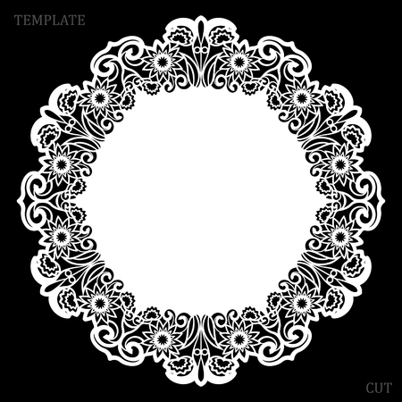 Lace round paper doily, greeting element, laser cut template, doily to decorate the cake, vector illustrations.