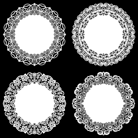Set of design elements, lace round paper doily, doily to decorate the cake, template for cutting, snowflake, greeting element, metal plate cut by laser, vector illustrations Ilustrace