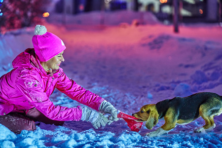 A middle-aged woman in a red sportswear is having fun playing with a dog puppy on a winter holiday Christmas night.