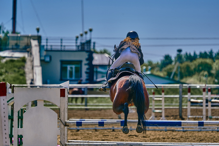 A young woman jockey on a horse performs a jump across the barrier. Competitions in equestrian sport. Close-up.