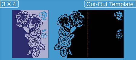 Laser cut wedding invitation card template. Cut out the paper card with floral pattern. Greeting card with an aspect ratio of 3 to 4 when closed. Card with a bend to close. Vector Illustration