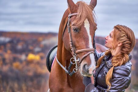 A young woman with brown curly hair caresses a brown horse. The horse caresses the woman. Woman on a walk with a horse on a cloudy autumn day.