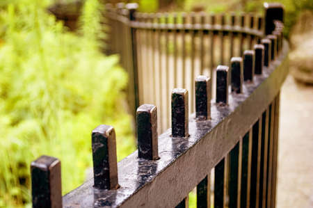 fence: A wrought iron fence with very shallow depth of field