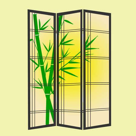 folding screens: Illustration of a 3 panel Shoji privacy screen