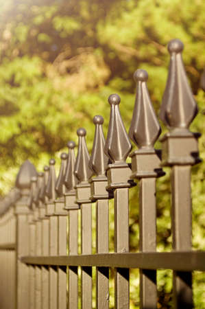 iron fence: A wrought iron fence with very shallow depth of field. Stock Photo