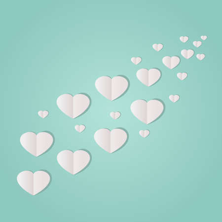 minty: Trail of paper hearts on a minty green background.