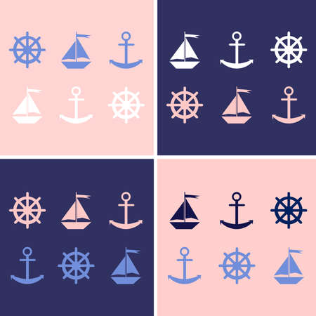 nautical vessel: Set of nautical themed design elements.