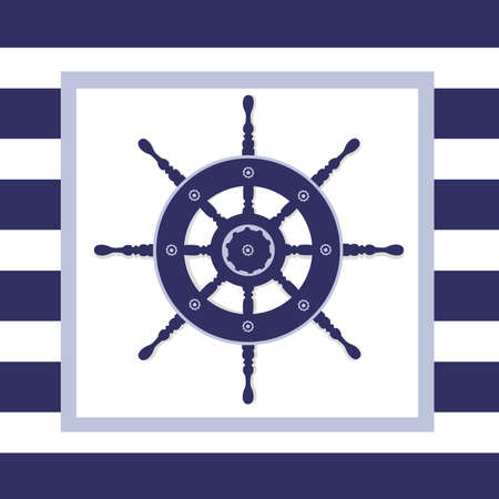 navy blue background: Illustration of a blue helm wheel in a frame with a navy blue and white stripped background.