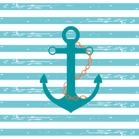 stripped background: Illustration of a ship anchor and chain in a teal color with blue and white stripped background. Stock Photo