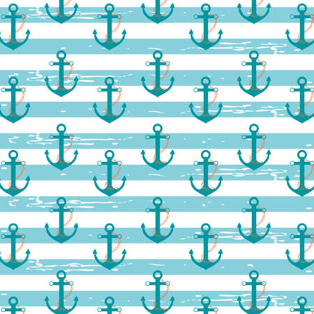 stripped background: Illustration pattern with nautical ship anchors in a light blue stripped background