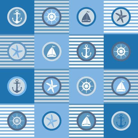 marcos redondos: Ilustración de elementos de diseño de temática náutica establecido.