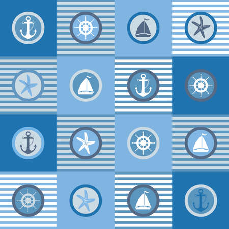 Illustration of nautical themed design elements set.