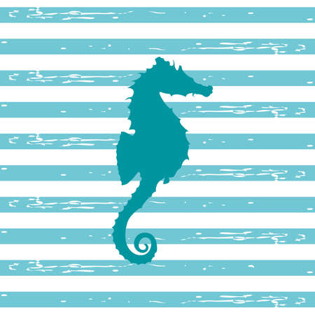 stripped background: Illustration of a seahorse silhouette in a teal color with blue and white stripped background.