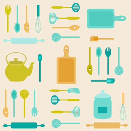 modern kitchen: Flat icon illustration of assorted kitchen utensils. Stock Photo