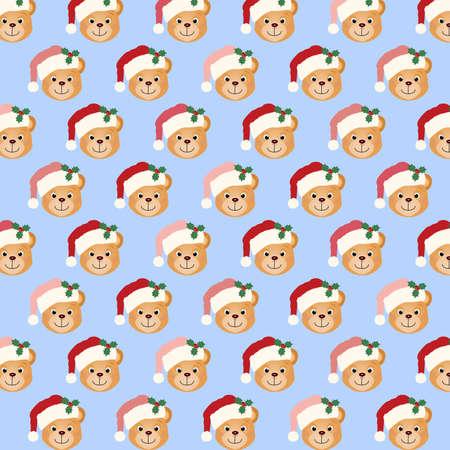 christmas wallpaper: Illustration pattern of a toy teddy bear wearing a Santa hat. Stock Photo