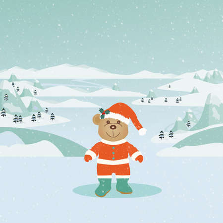 santa suit: Cute teddy bear wearing a Santa suit on a snowy winter landscape. Stock Photo