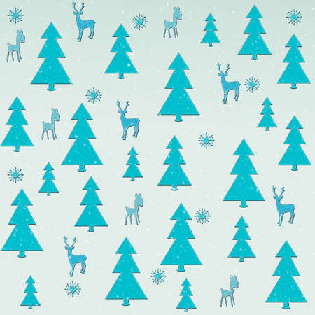 fawn: Illustration of Christmas elements, including Christmas tree, reindeer, fawn, and snow flake.