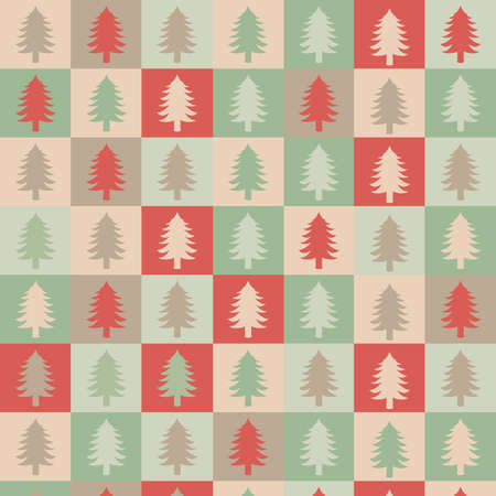 holiday celebrations: Flat design illustration of Christmas tree silhouettes in a pattern.