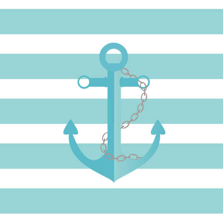 stripped: Illustration of a ship anchor and chain in an agua color with blue and white stripped background.