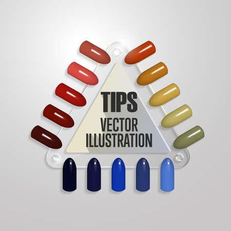 Tips. Set of false nails for manicure. Varnish color palette for nail extension. Transparent triangular palette with artificial nails Illustration