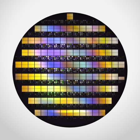 Siliziumwafer mit fertigen Prozessoren. Realistische Vektorillustration.