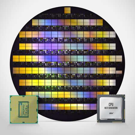 Siliziumwafer mit fertigen Prozessoren und moderner CPU. Vorder- und Rückseite des Prozessors. Realistische vektorabbildung.