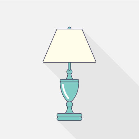 Classic table lamp. Flat stroke design Vector illustration Illustration