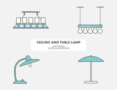 Plafoniera e lampada da tavolo classica Vettoriali