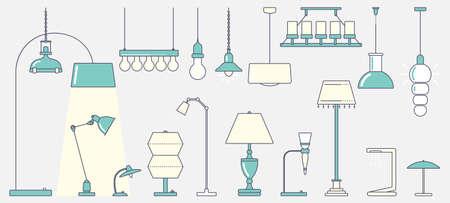 ランプの大規模なセット  イラスト・ベクター素材