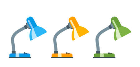 Office desk lamp. Lamp in different colors. Flat design Vector illustration